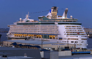 Royal Caribbean Cruise ship docked in the Galveston cruise port