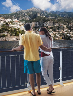 Couple on the balcony cruising to Europe