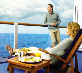 Balcony on the Ruby Princess cruise ship