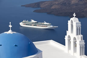 Royal Caribbean cruise ship sailing to Santorini, Greece